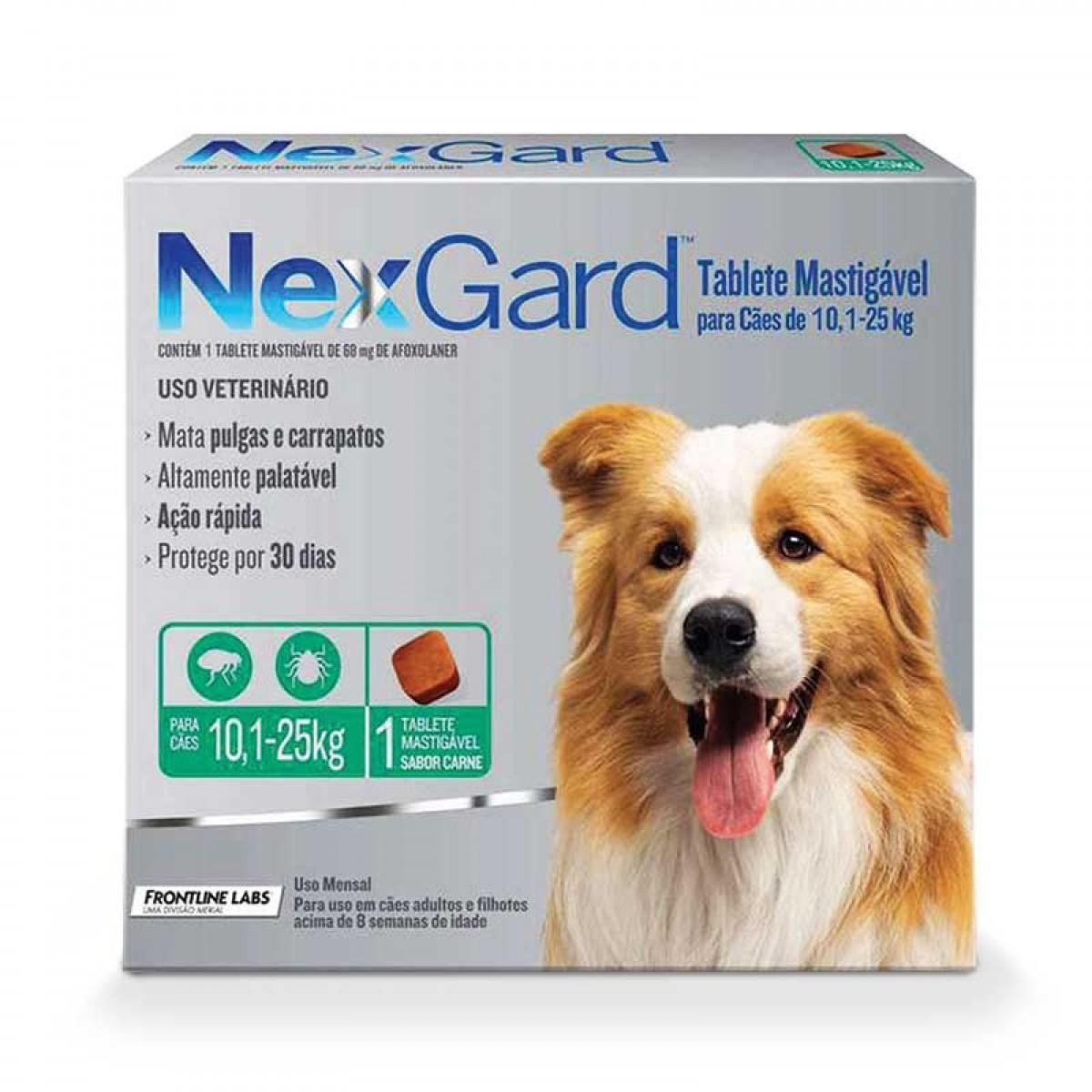 Antipulgas e Carrapatos para Cães - 10,1 a 25 Kg -  1 Tablete Avulso - NexGard