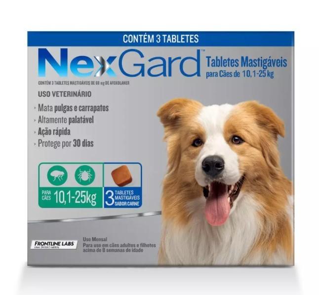 Antipulgas e Carrapatos para Cães - 10,1 a 25 Kg -  3 Tabletes - NexGard
