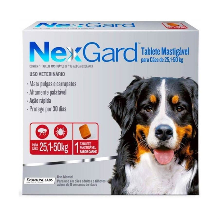 Antipulgas e Carrapatos para Cães - 25,1 a 50kg - 1 Tablete Avulso - NexGard