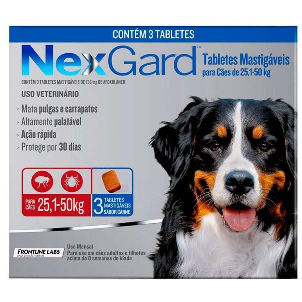 Antipulgas e Carrapatos para Cães - 25,1 a 50kg -  3 Tabletes - NexGard