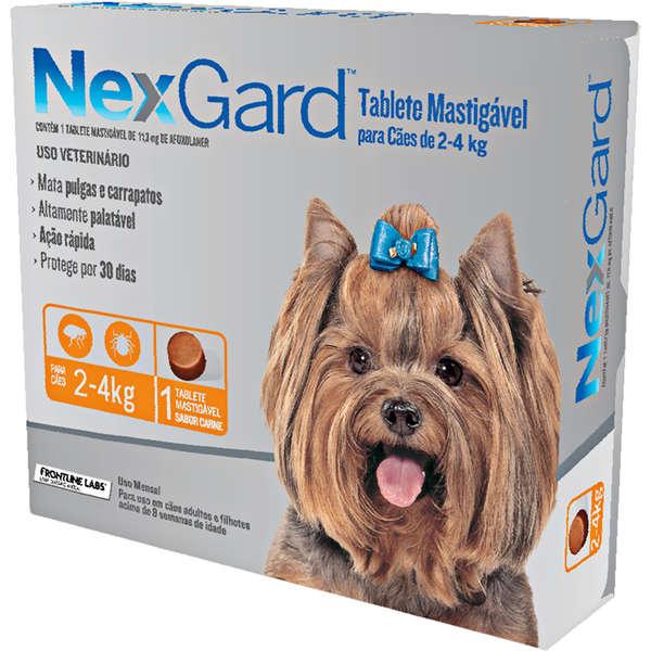Antipulgas e Carrapatos para Cães - 2 a 4kg - 1 Tablete Avulso - NexGard