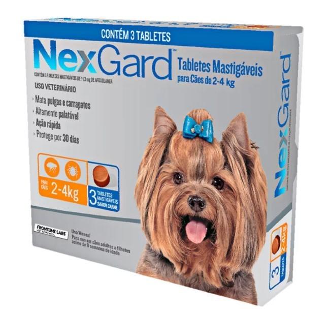 Antipulgas e Carrapatos para Cães - 2 a 4Kg -  3 Tabletes - NexGard