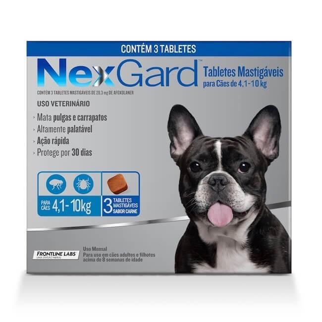 Antipulgas e Carrapatos para Cães - 4,1 a 10kg -  3 Tabletes - NexGard