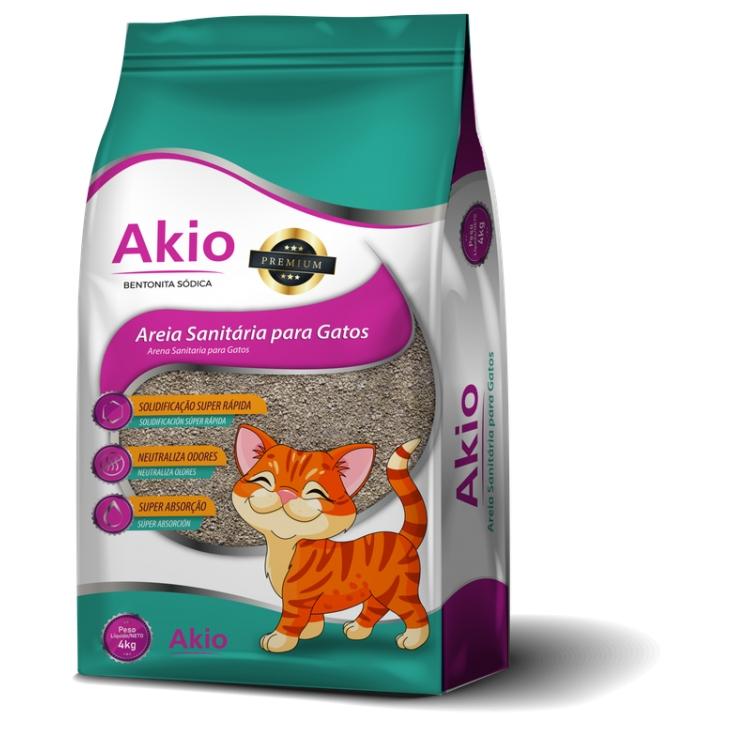 Areia Sanitária Bentonita Sódica para Gatos - 4kg - Akio