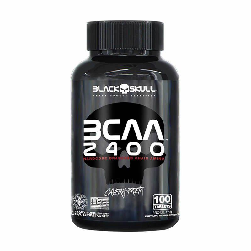 Bcaa Aminoácido Caveira Preta 2400Mg 100 Tabletes Black Skull