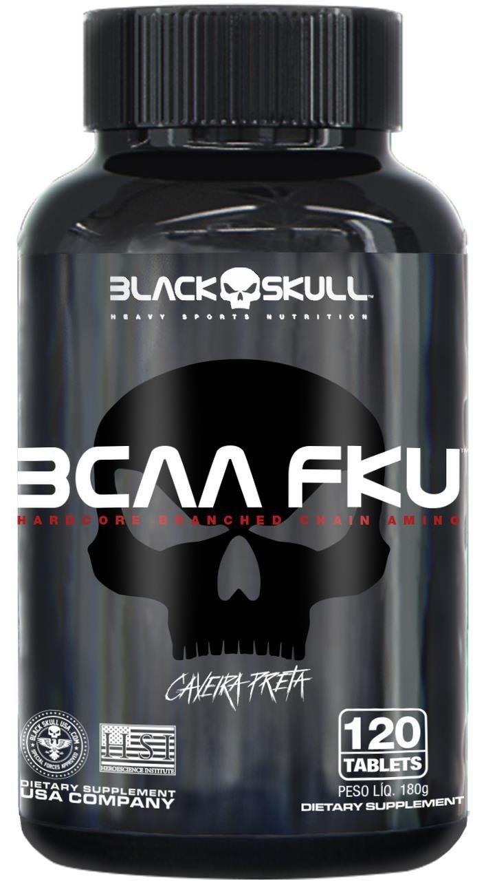 Bcaa Aminoácido Caveira Preta Fku 120 Tabletes Black Skull