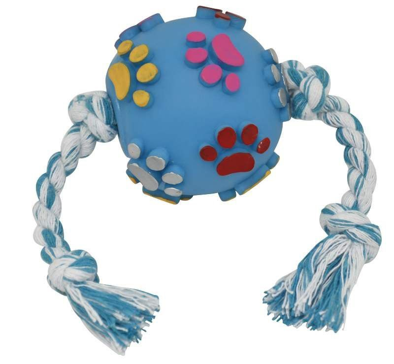 Bola para Cães Pata e Osso em Alto Relevo com Corda - São Pet