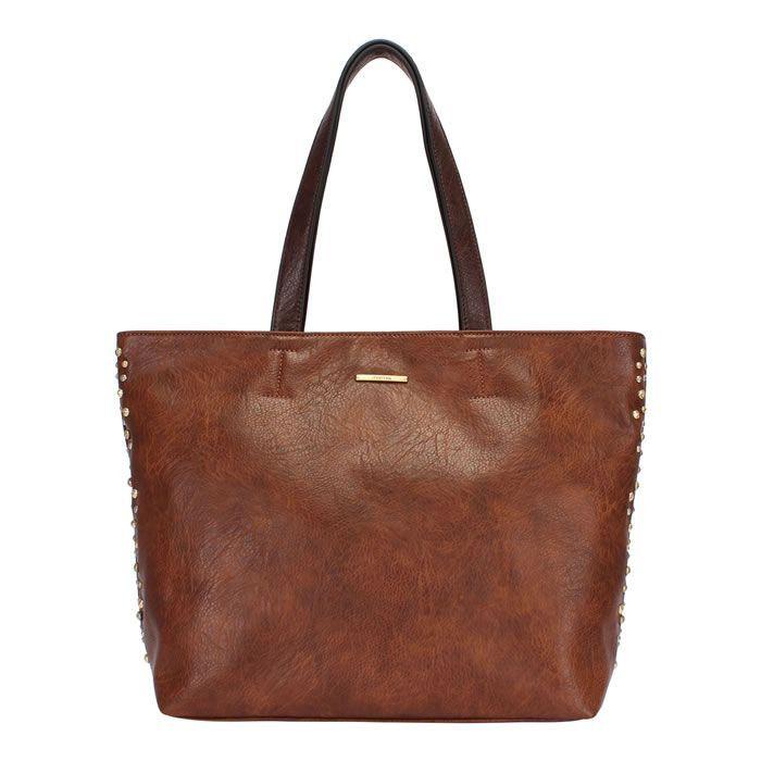 Bolsa Shopping Bag Marrom C/ Detalhes de Metais Mormaii