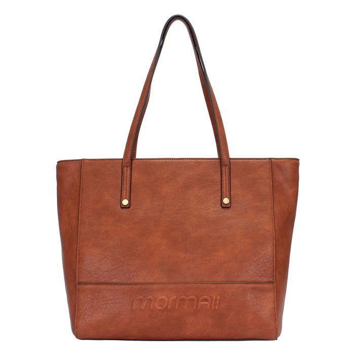 Bolsa Shopping Bag Marrom Grande Detalhes Em Relevo Mormaii