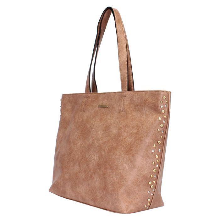 Bolsa Shopping Bag Nude C/ Detalhes de Metais Mormaii