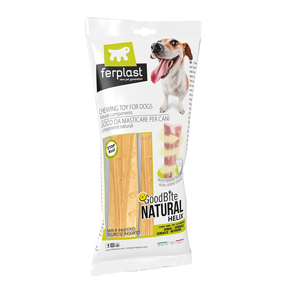 Brinquedo Mastigável GoodBite Natural Bag em Helix para Cães - Sabor Cereal - M - 2 Unidades - Ferplast