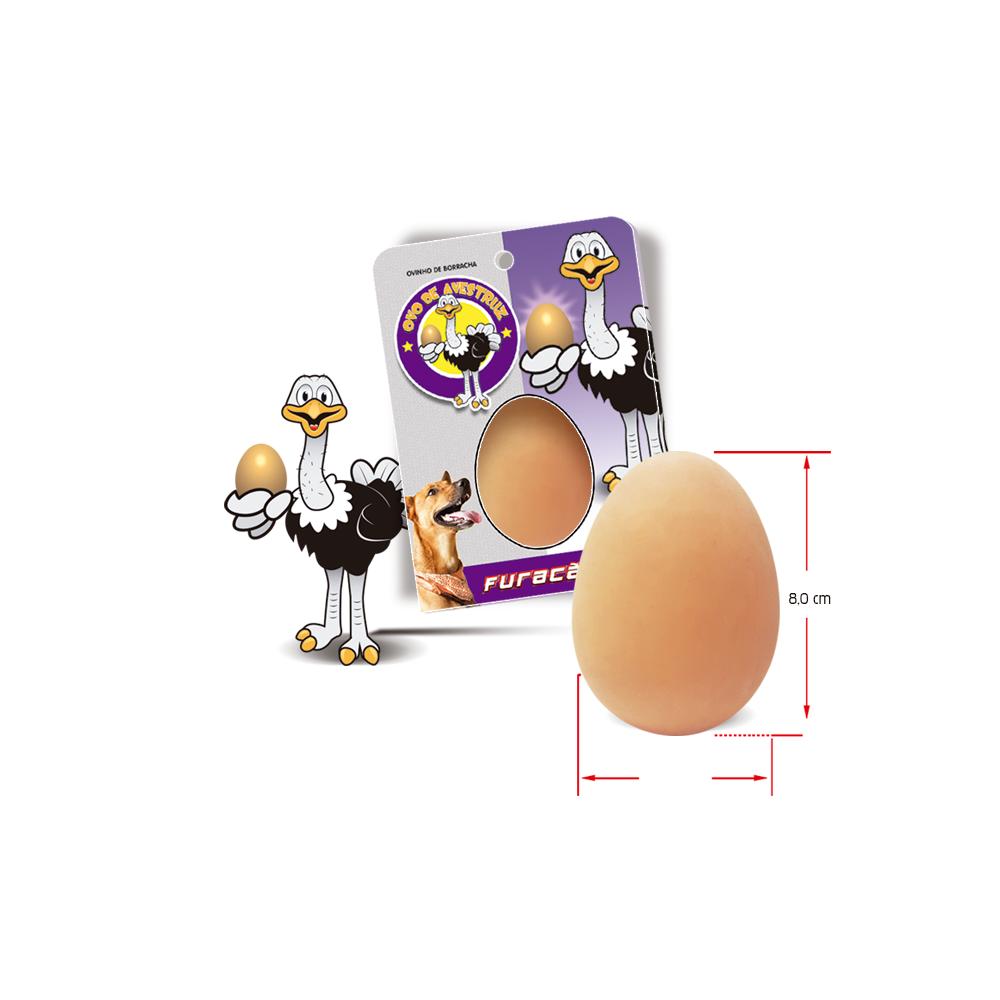 Brinquedo Ovo de Avestruz Maciço de Borracha para Cães - Furacão Pet
