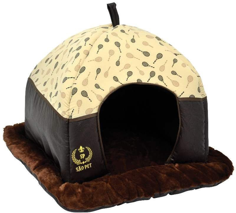 Cama Tenda Luxo para Cães e Gatos - Marrom - São Pet