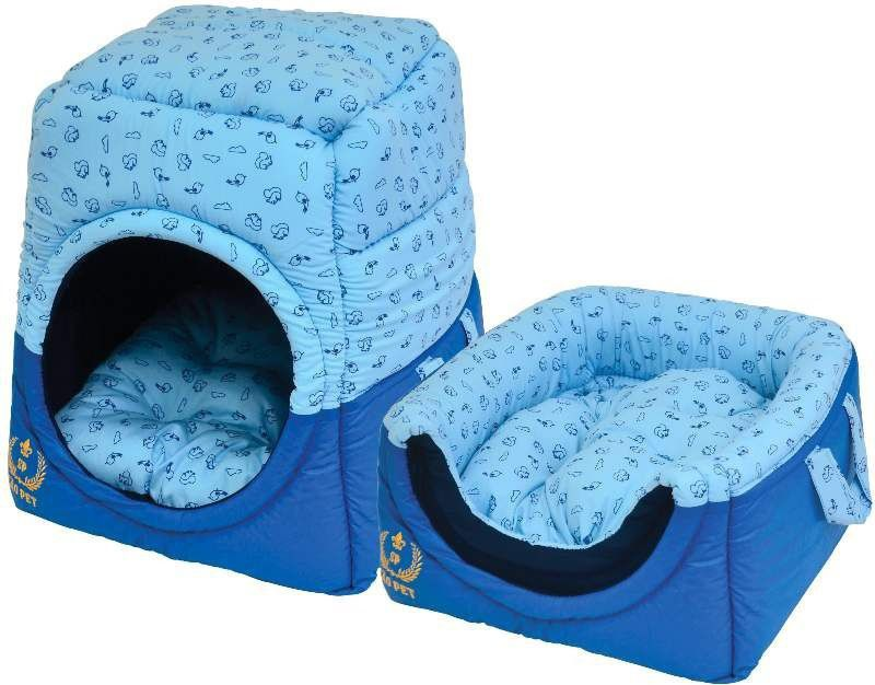 Cama Túnel Florence Algodão/ Couro Sintético Azul M São Pet