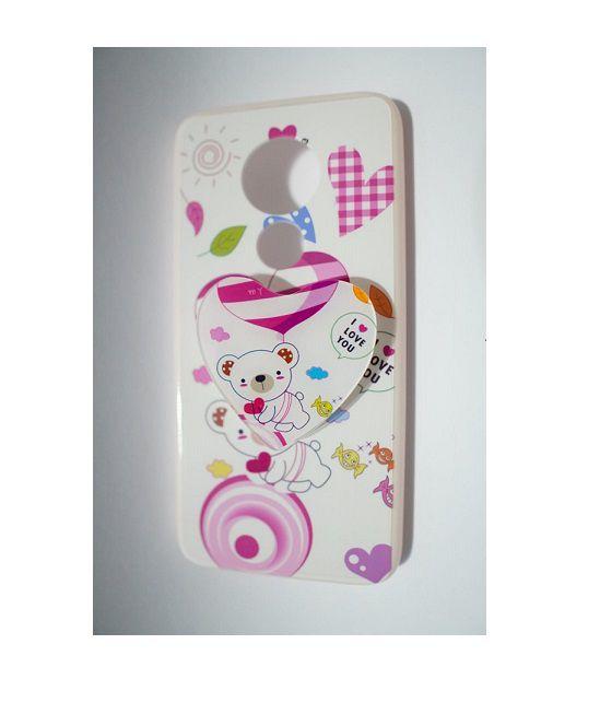 Capinha p/ Celular Motorola G7 POWER com POP - Branco e Rosa com detalhes de Ursinho