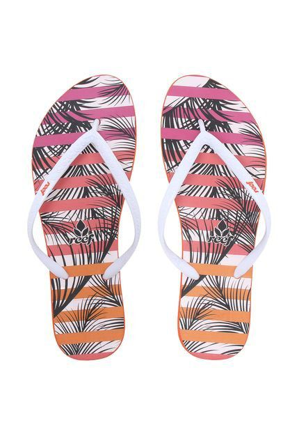 Chinelo Escape Palm Stripes Pink Reef