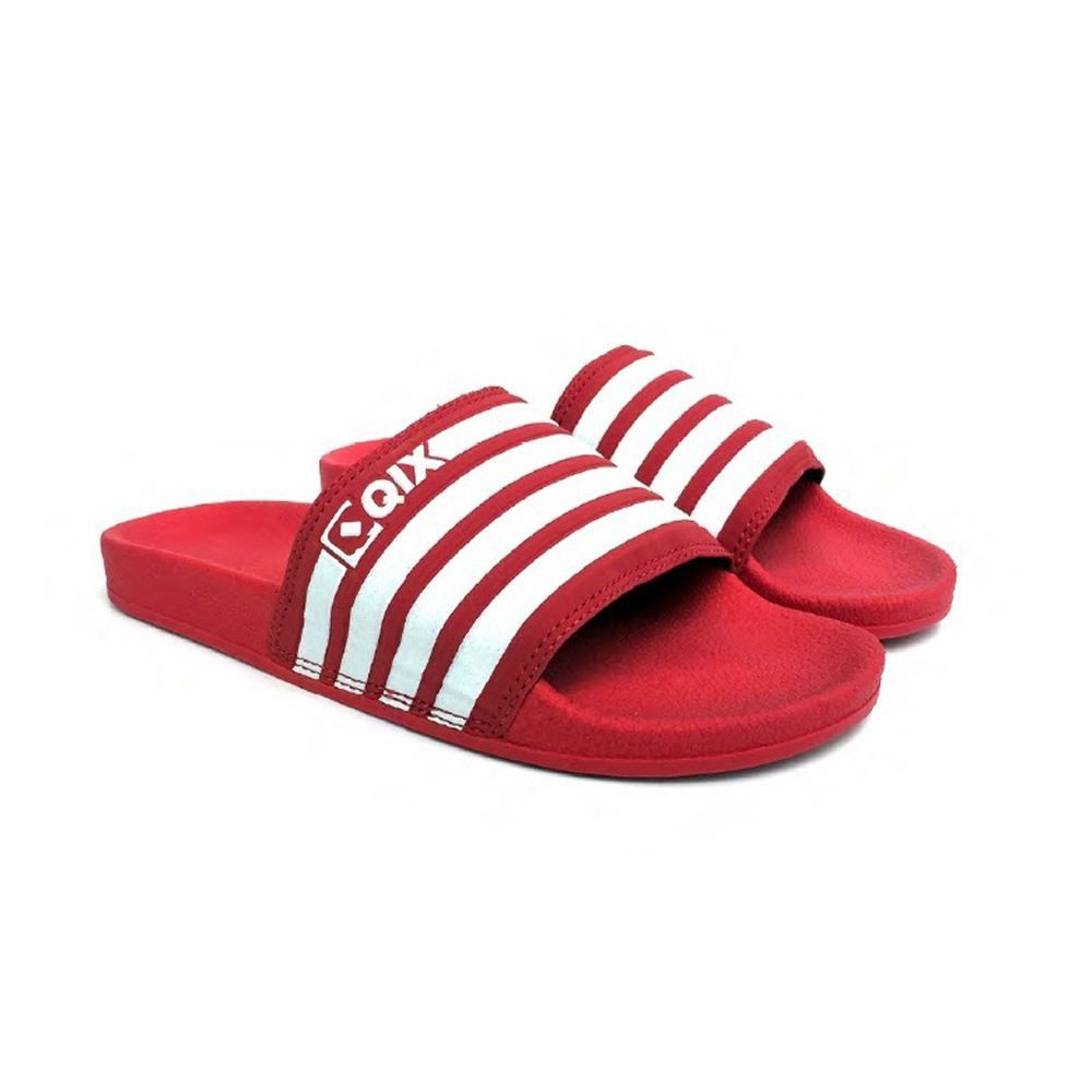 Chinelo Slide Listrado Vermelho/Branco 100% Autêntico Qix