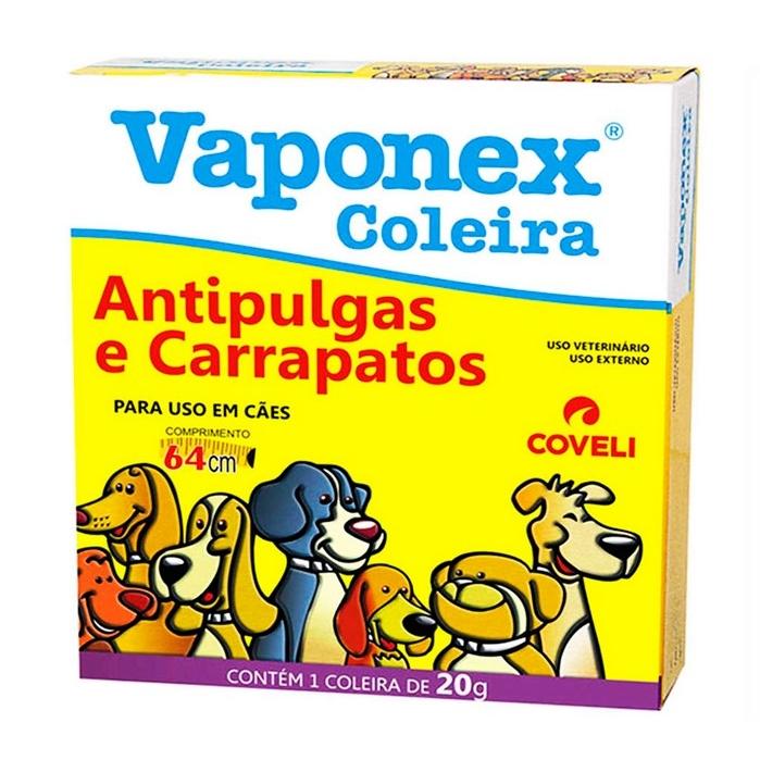 Coleira Antipulgas e Carrapatos Vaponex para Cães - 64cm - Coveli