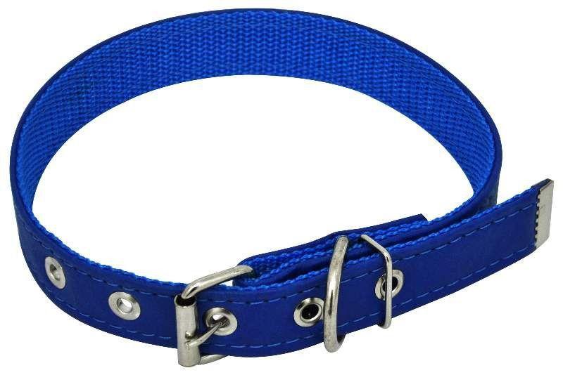 Coleira em Couro Sintético Reforçada - Azul - Nº8 - São Pet