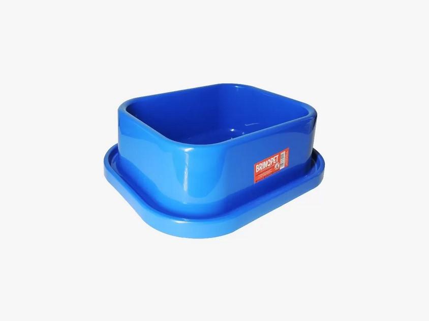 Comedouro Plástico Anti-Formigas para Cães e Gatos - Azul - 350mL - Brinqpet