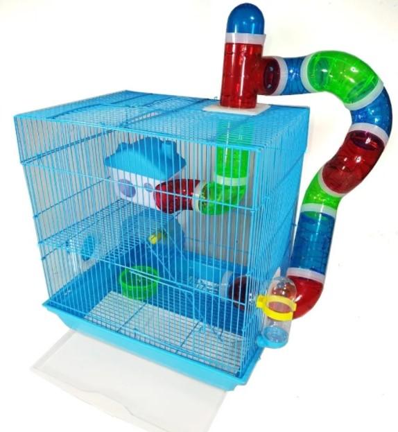 Gaiola Labirinto com 2 Andares para Hamster - Azul - American Pets