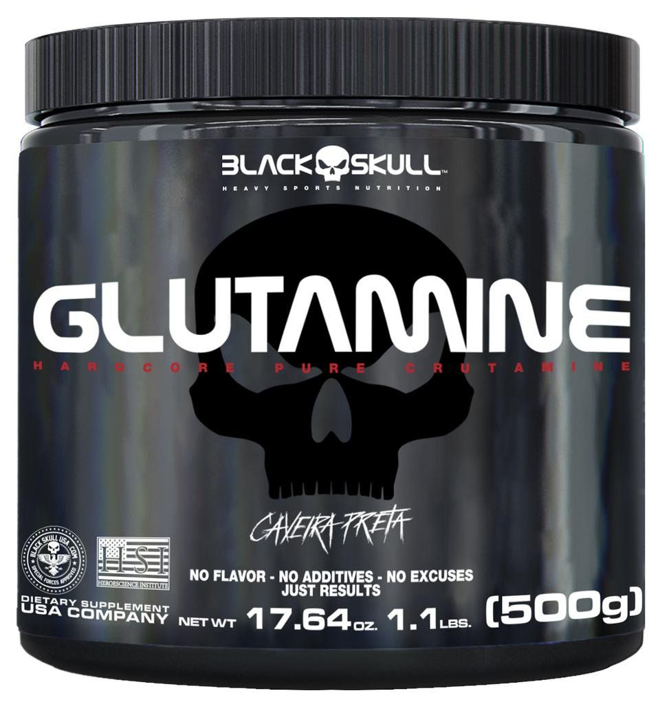 Glutamina Pura Glutamine Caveira Preta Aminoácido 500g Black Skull
