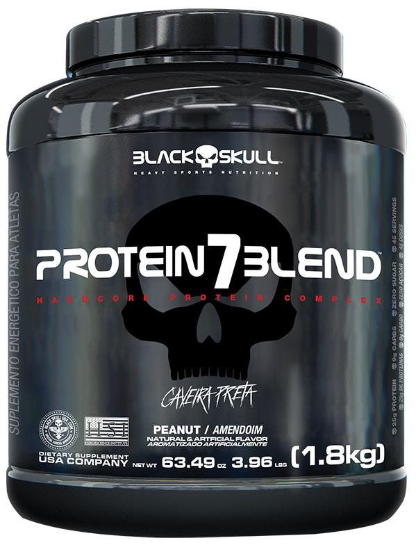 Hiper Proteíco Whey Protein 7 Blend Caveira Preta 1,8kg Black Skull