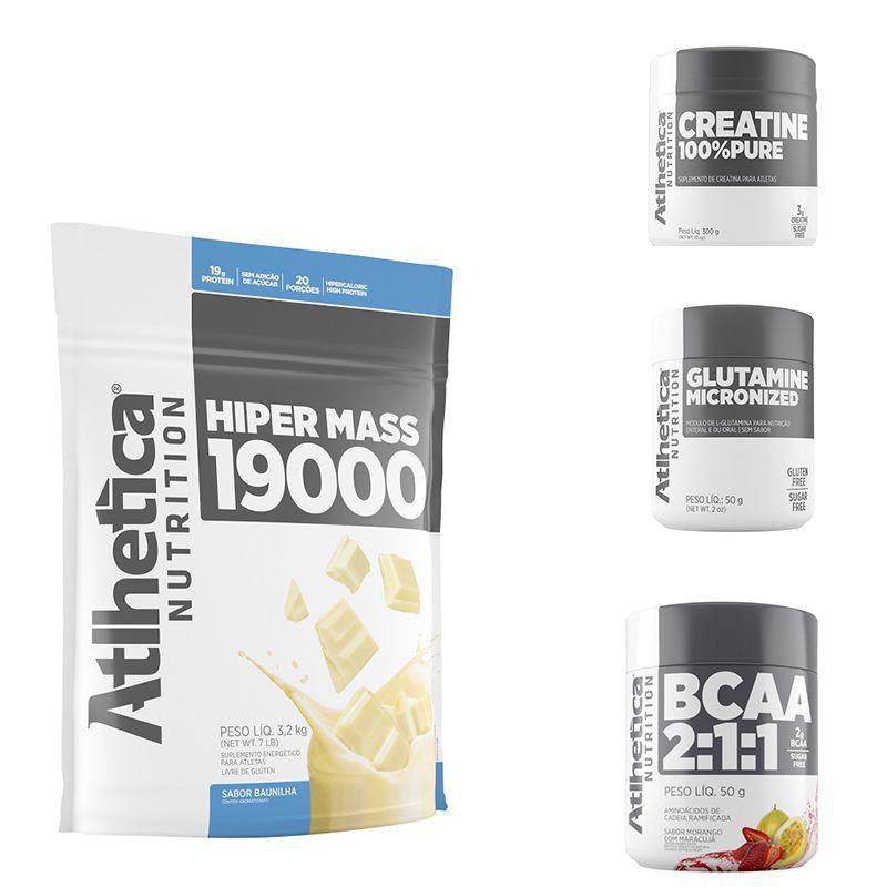 Hipermass 19000 (3,2kg) + Creatine 100% Pure (300g) + Glutamine Micronized 50g + BCAA 2:1:1 50g - Atlhetica Nutrition