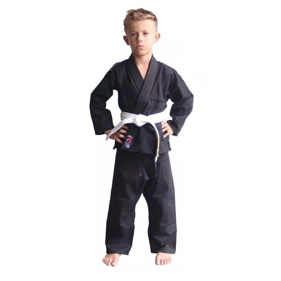 Kimono Infantil Reforçado Confortavel Jiu Jitsu Preto Naja