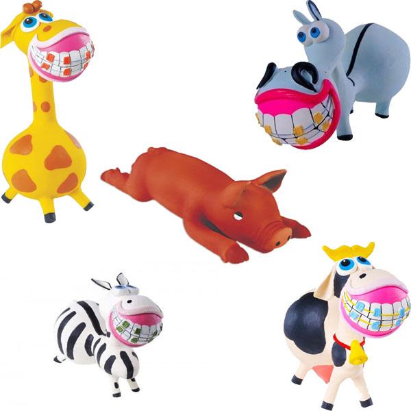 Kit com 5 Brinquedos em Látex para Cães e Gatos - Kit Sorrisão - Latoy