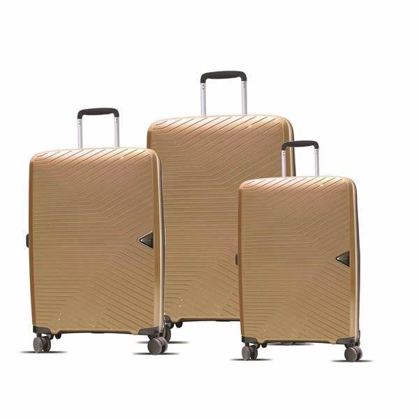 kit de malas firenze itv181 rodas duplas P, M e G  dourado santino