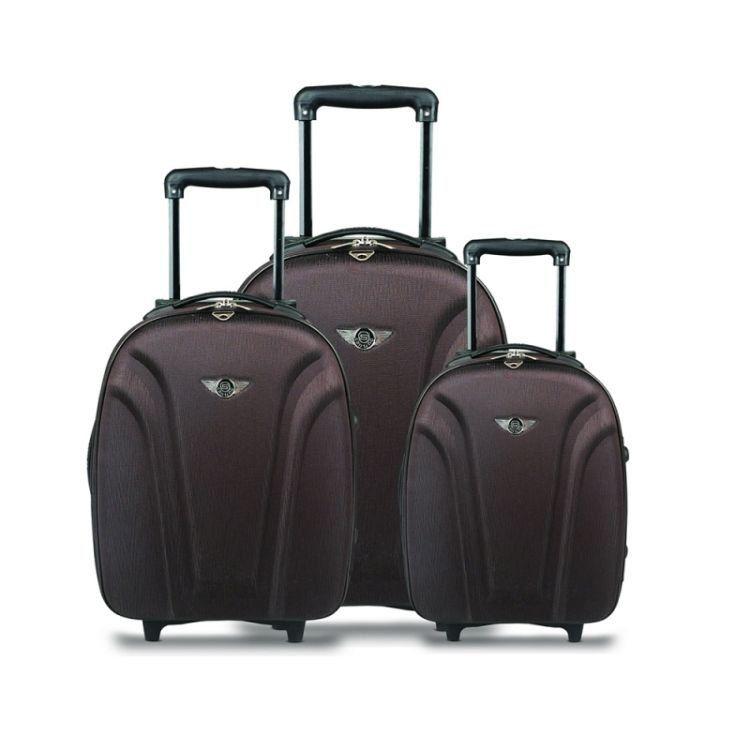kit malas de viagem linha basic QRV7001 apoio lateral poliester marrom Santino