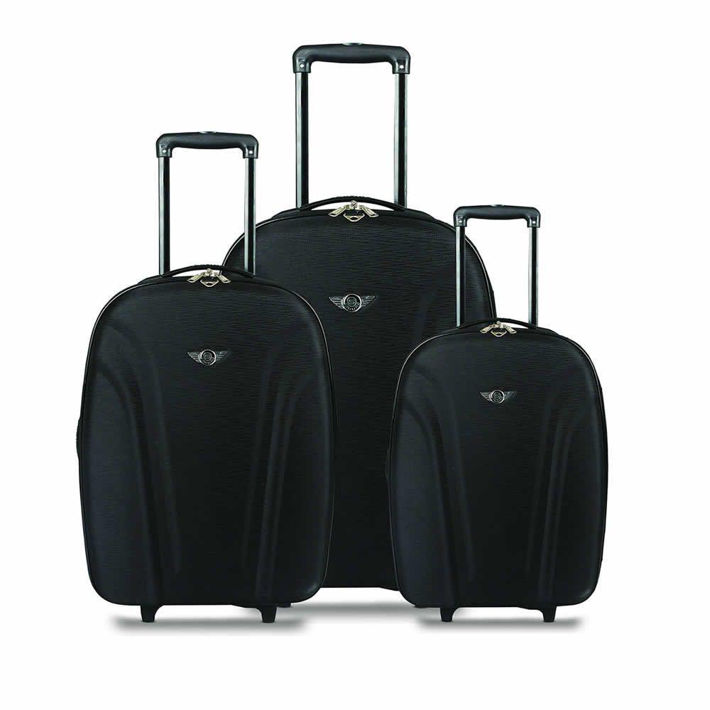 kit malas de viagem linha basic QRV7001 apoio lateral poliester preto Santino