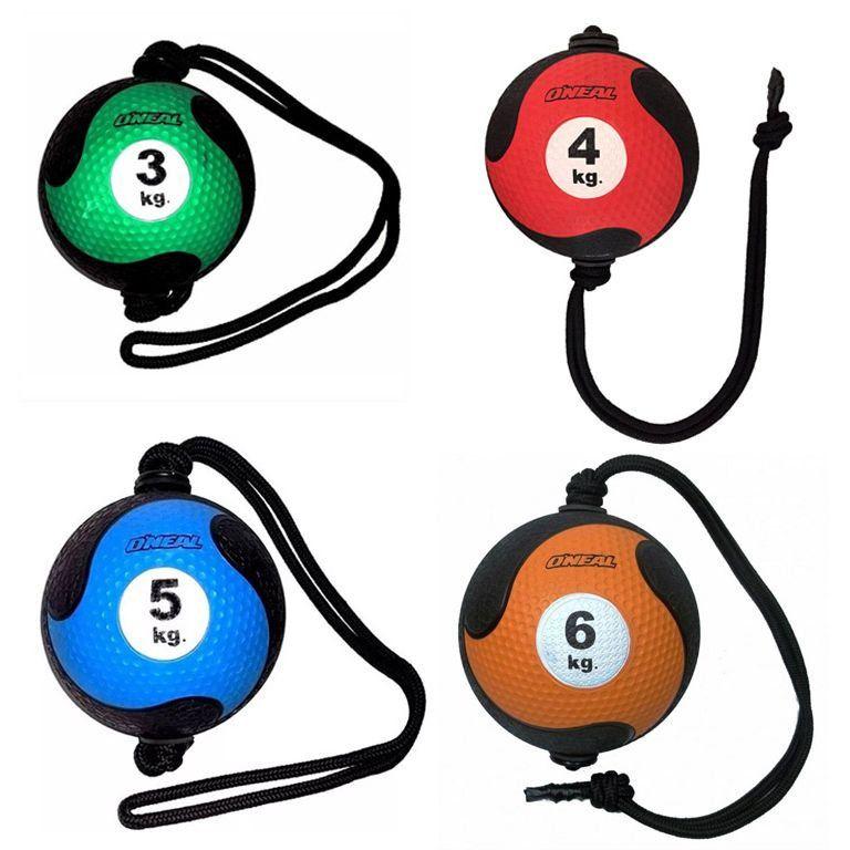 Kit Medicine Ball Com Corda Com 4 Bolas Borracha Antiderrapante Oneal