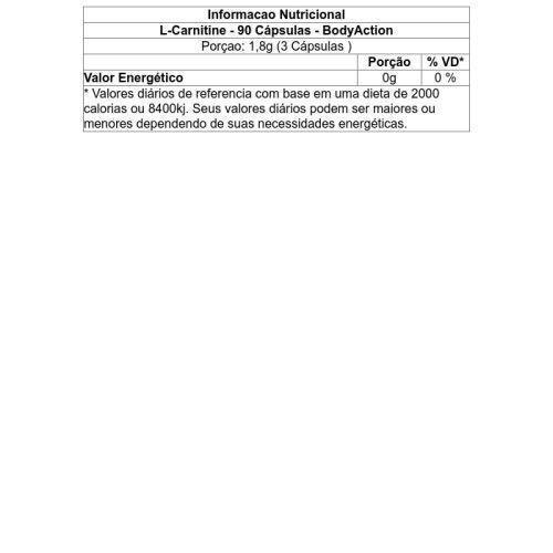 L-Carnitine Rápida Absorção Body Action - 90 cápsulas