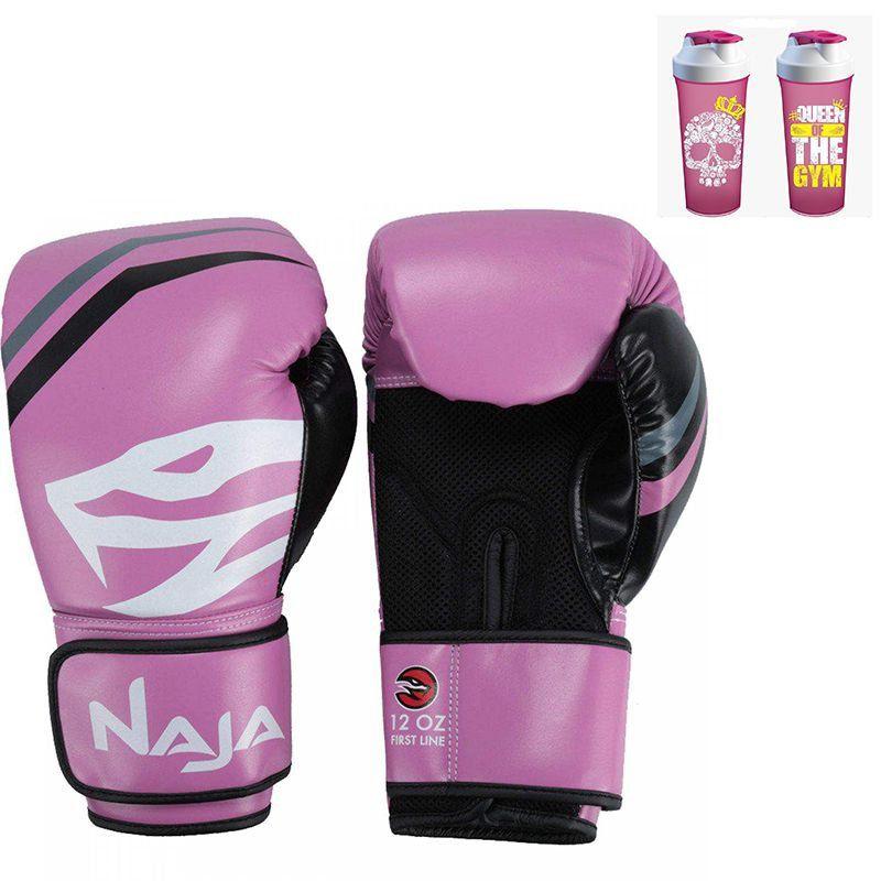 Luva Boxe Muay Thai New First Rosa Naja + Coqueteleira