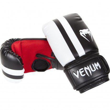 Luva de Boxe Elite Bag Gloves Preta c/ Branco Couro Sintético Venum