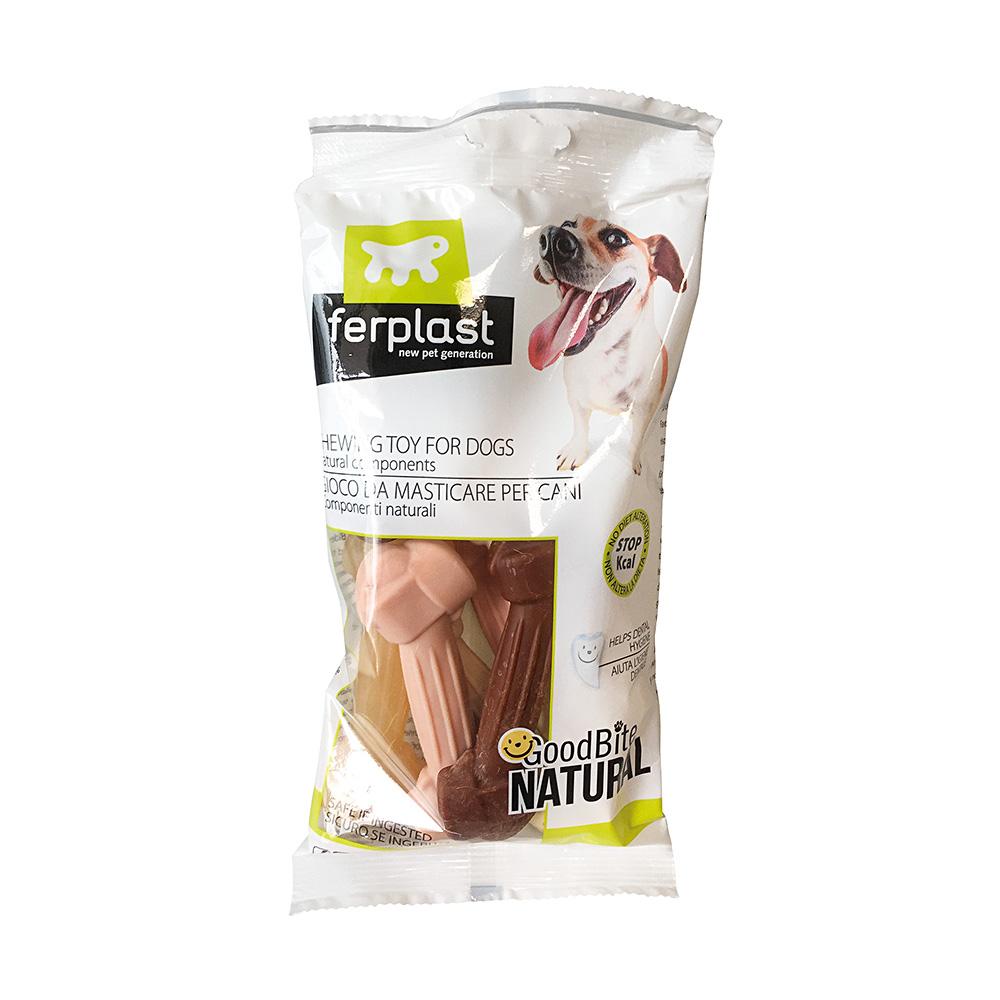 Pacote de Brinquedo Mastigável GoodBite Natural Ossinho para Cães - Sabores Mistos - P - 8 Unidades - Ferplast