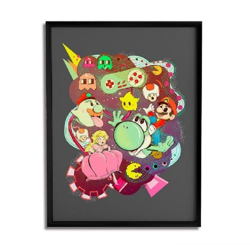 Quadro Decorativo Mario Vs Pacman By Lua Lins