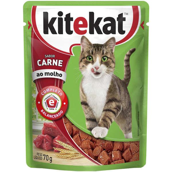 Sachê Ração Úmida Kitekat Sabor Carne para Gatos Adultos - 70g - Waltham