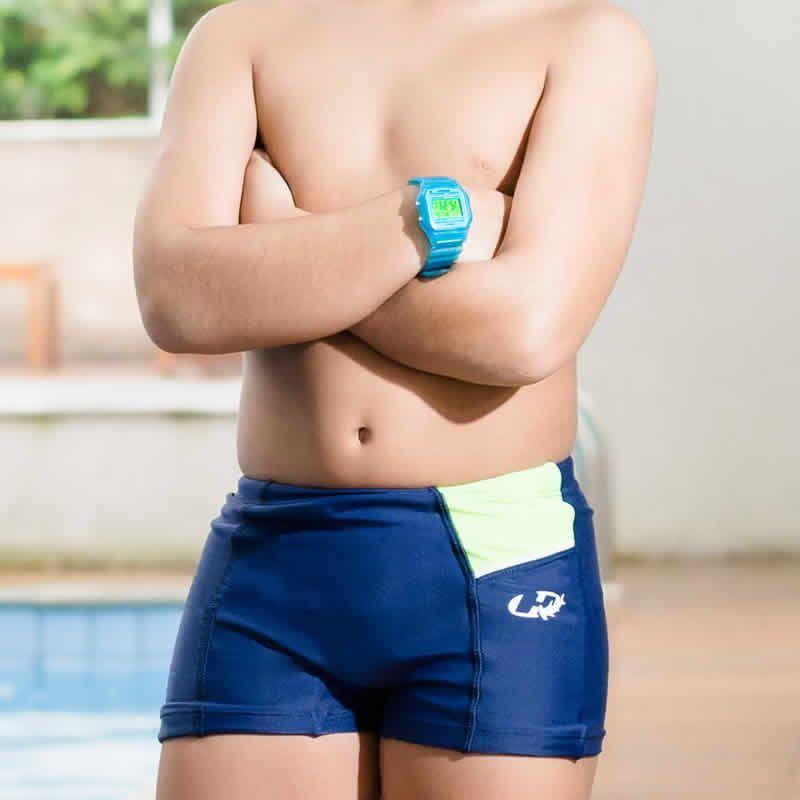 Sunga Boxer Infantil XL Champion Azul Marinho/Verde/Branco - Hammerhead - Tam 8