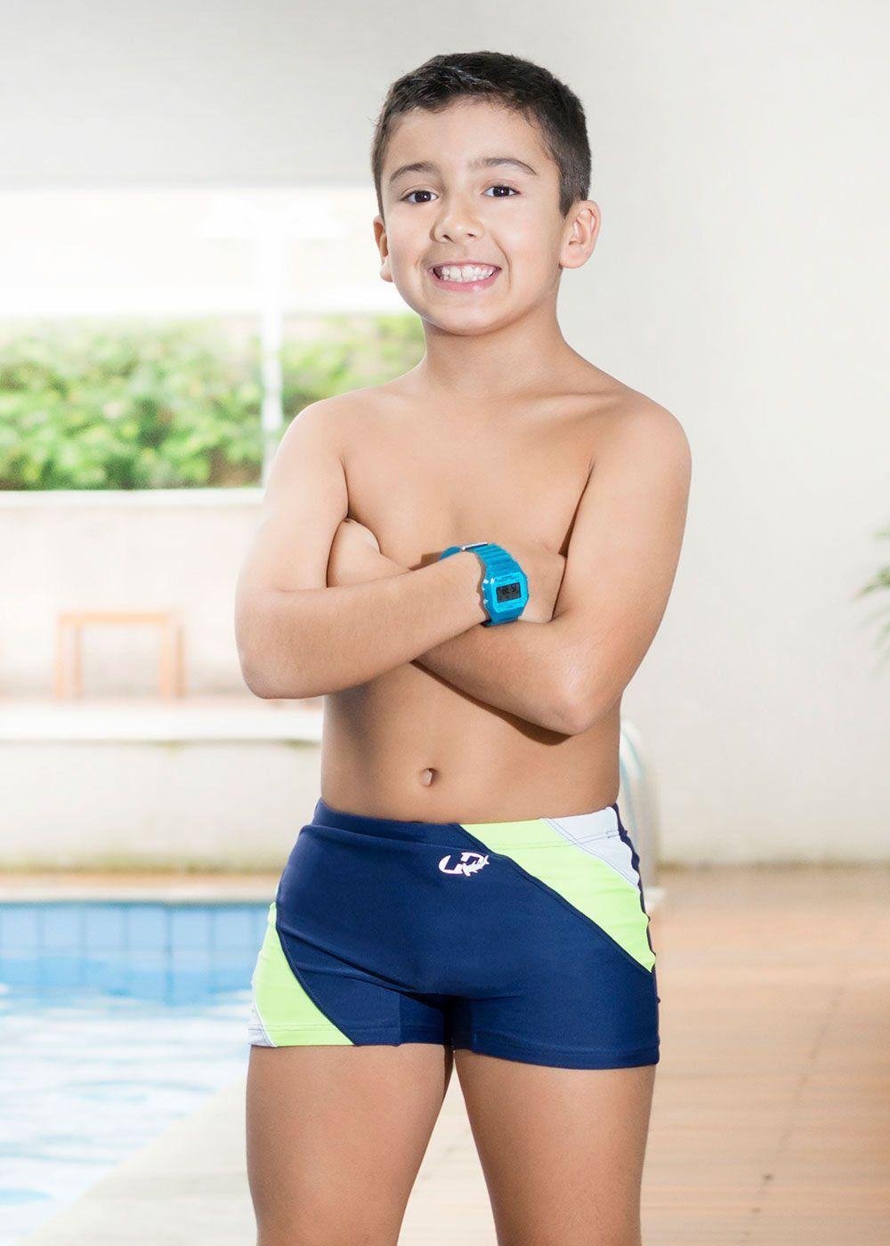 Sunga Boxer Infantil XL Dady Azul Marinho/Verde/Branco - Hammerhead