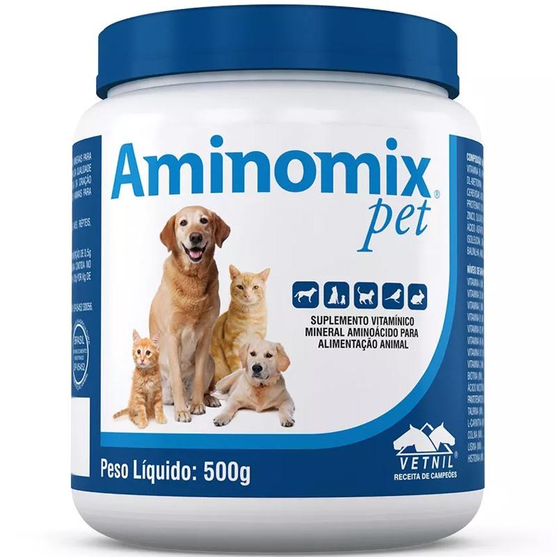 Suplemento Vitamínico Aminomix Pet para Cães e Gatos - 500g - Vetnil