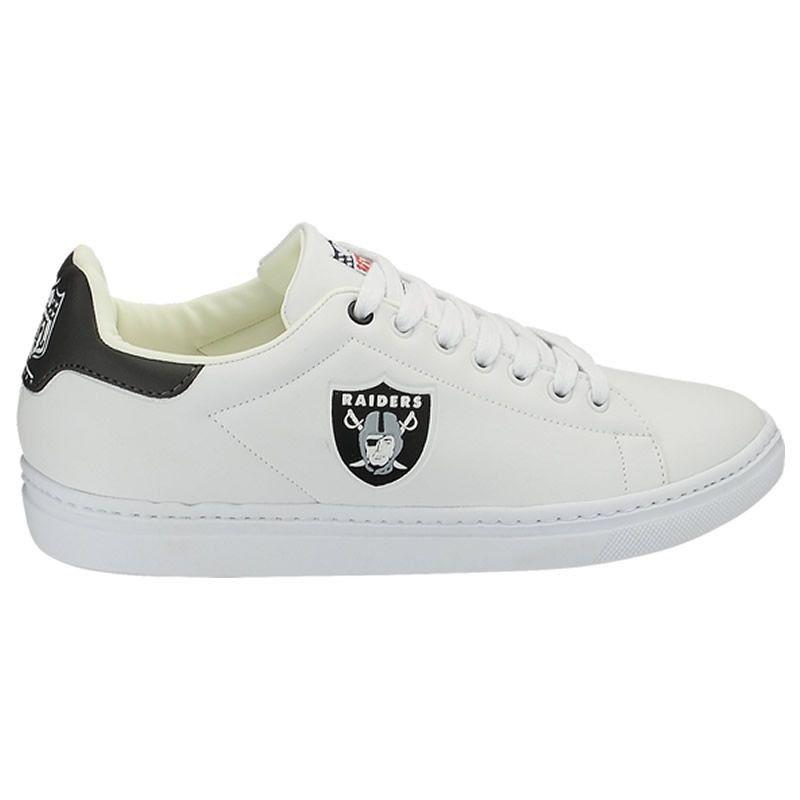 Tênis Sapatenis Sintetico Oakland Raiders NFL Branco/Preto