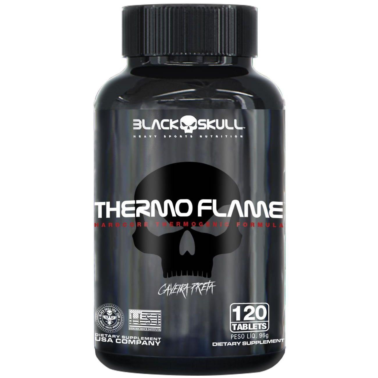 Termogênico Thermo Flame Caveira Preta Cafeína 120 Tabletes Black Skull