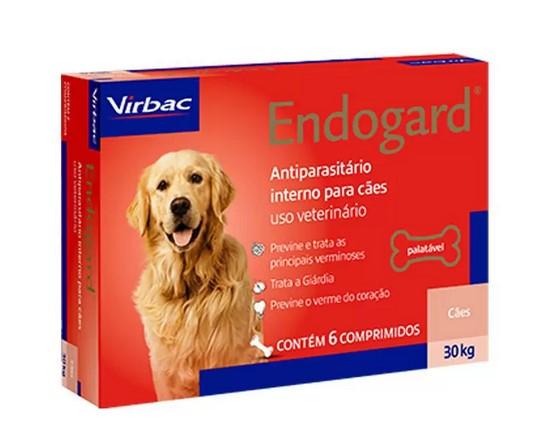Vermífugo Endogard para Cães - 30Kg - Caixa com 6 Comprimídos - Virbac