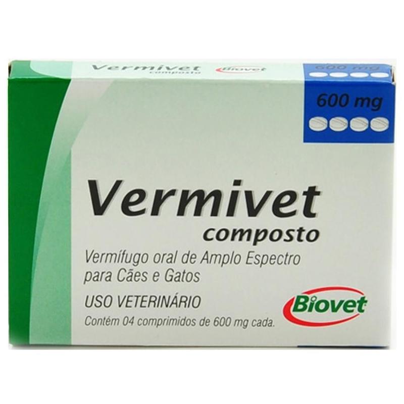Vermífugo Vermivet Composto - 4 Comprimidos 600mg Cada - Biovet