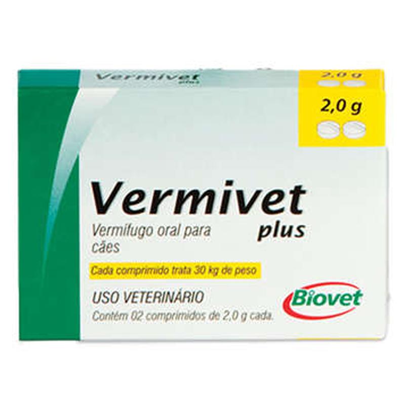 Vermífugo Vermivet Plus - 2 Comprimidos 2g Cada - Biovet