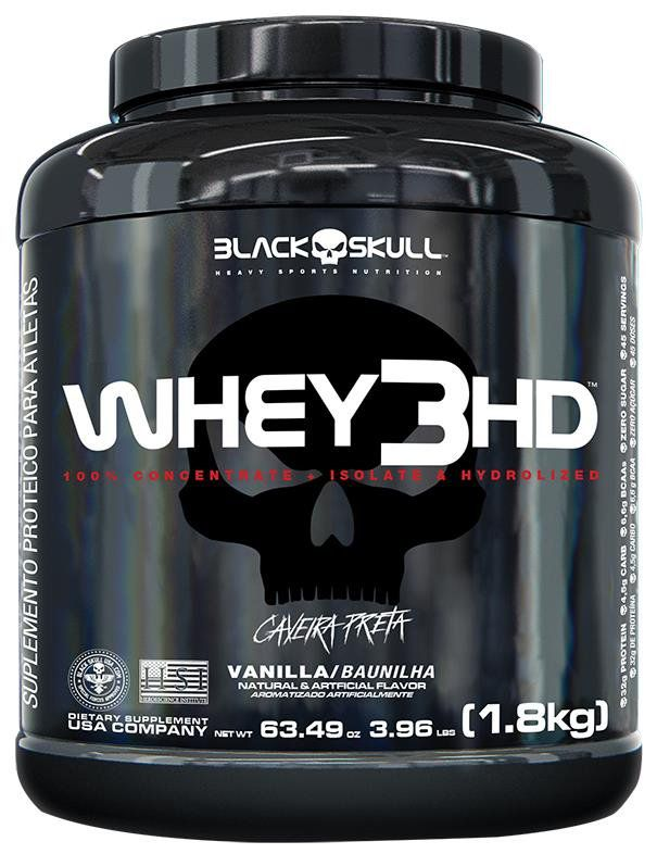 Whey Protein 3hd Caveira Preta 3,97 Lbs Whey 3w 32g Proteina/Dose 1,8kg Black Skull