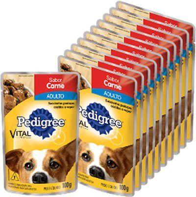 Sachê da Pedigree Carne Ao Molho Ad 100gr kit com 10 unidades